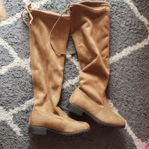 Little girls faux suede knee high boots